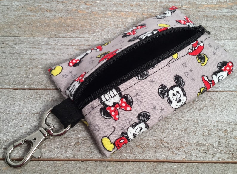 Small Zippered Coin Purse Change Purse Ear Bud Pouch Minnie /& Mickey Grey