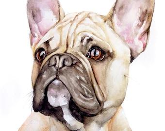 Custom Dog Painting, Custom Pet Portrait, Pet Loss Gifts, Dog Sympathy Gift, French Bulldog