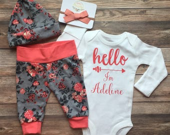 Coral and Gray Floral Hello World Coming Home Outfit, Hello I'm New Here Coral and Gray Floral Newborn Outfit, coming home outfit, baby girl