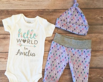 d35d4db22 Hello World Lavender Sparkle, Coming Home Outfit, Going Home outfit, Hello  World Name, Personalized Onesie, Custom Bodysuit,Baby girl outfit