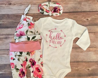 Pink and Purple Floral Girl Coming Home Outfit, Going Home Outfit, Newborn girl outfit, newborn pants, hello I'm New Here, READY TO SHIP