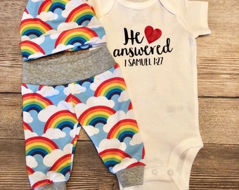 He Answered Rainbow Baby Outfit cfc8541f3c7f