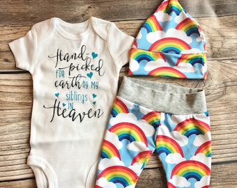 485318e23 Handpicked For Earth Rainbow Outfit, Mamas Rainbow, Rainbow Baby, Coming  Home Outfit, Going Home Outfit, Baby Boy Outfit