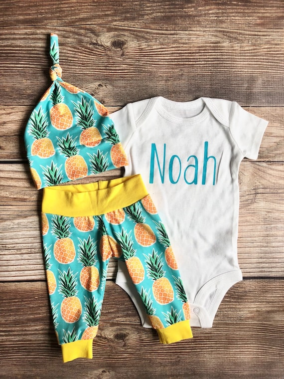Baby Girl pineapple personalized Baby Girl Clothes Summer Baby Girl pineapple Coming home Outfit