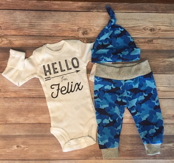Baby Boy Coming Home Outfit,Baby Shark Outfit Shark,Shark Outfit,Baby Boy Gift,Baby Shower Gift