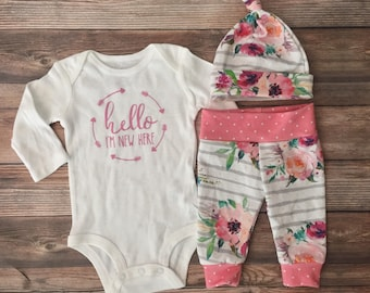 Gray Stripe Floral Girl Coming Home Outfit, Going Home Outfit, Newborn girl outfit, newborn pants and hat, hello I'm New Here, READY TO SHIP