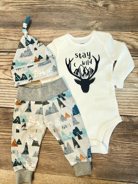 6b7bc94fac88 Stay Wild Adventure Awaits Newborn outfit coming home outfit