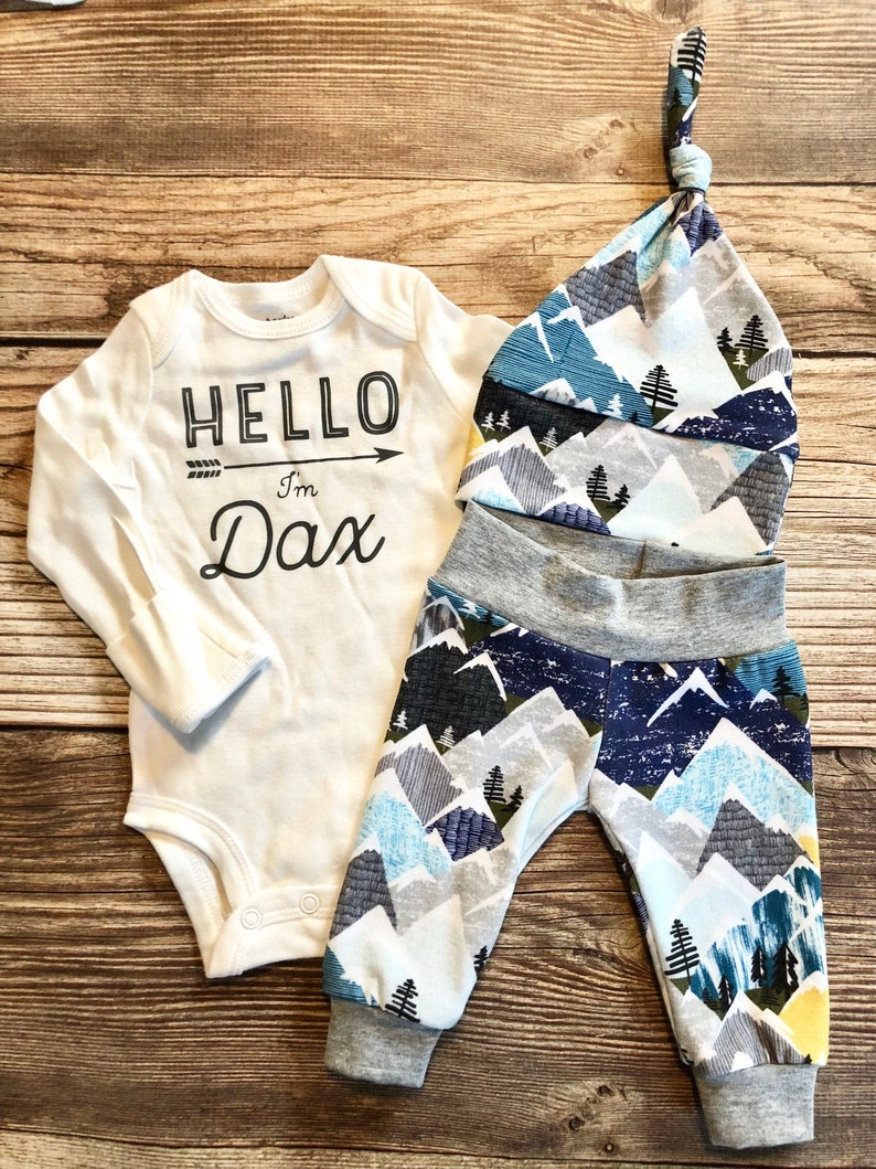 b97059e589d71 Hello I'm Snowy Mountains Newborn Boy Coming Home Outfit, Newborn Outfit,  Baby Boy Outfit, Boy Outfit, Going Home Outfit