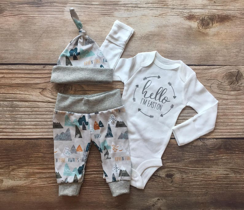9607f98e3792 Hello I m Adventure Awaits Newborn Boy Coming Home Outfit