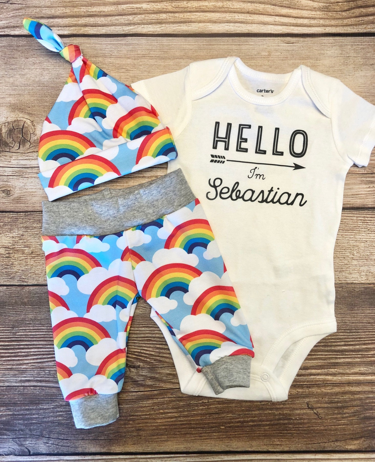 Rainbow Baby Name Outfit Rainbow Baby Gift Rainbow Baby | Etsy
