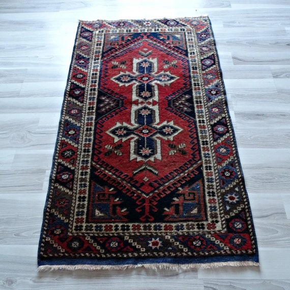 Handknotted Tribal Turkish Red Accent Rug 3x4 Vintage