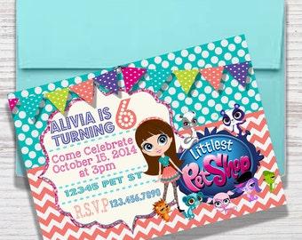 Digital File Pet Shop Party Printable Invite