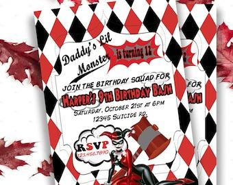 Harley Quinn Invite Etsy