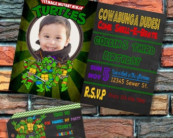 Digital FIle Turtle Birthday Party Invitation