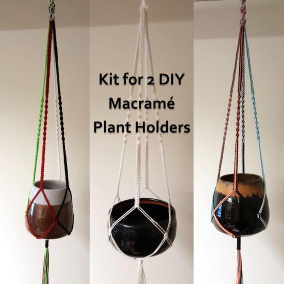 Plant Pot Holders Diy: DIY Macrame Kit For Two Plant Pot Holders Colourful