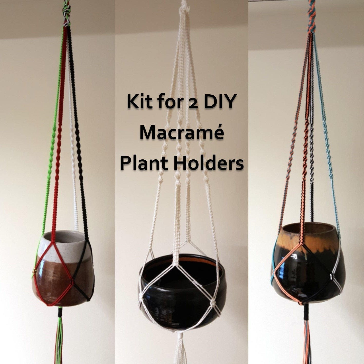 Diy Macrame Kit For Two Plant Pot Holders Colourful