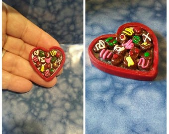 """Box Of """"Candy"""" Pin Polymer Clay Valentines Day Gift Wife Chocolates"""