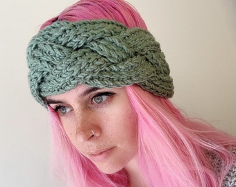 Sage Green Crochet Braided Ear Warmer/ Headaband, , Great Gift