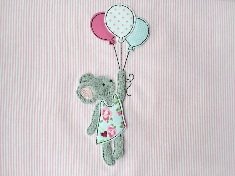 Stickdatei Maus mit Luftballons Doodle für 13x18 image 0