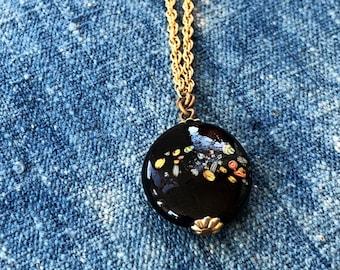 Vintage Gold Tone Chain with Cloisonne Style Pendant, Unsigned, Cloisonne Necklace, Cloisonne, Painted Pendant