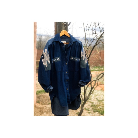 Oversized Denim Button Down with Hand Painted Deta