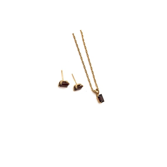 Vintage Garnet Jewelry Set   Delicate Garnet Neckl