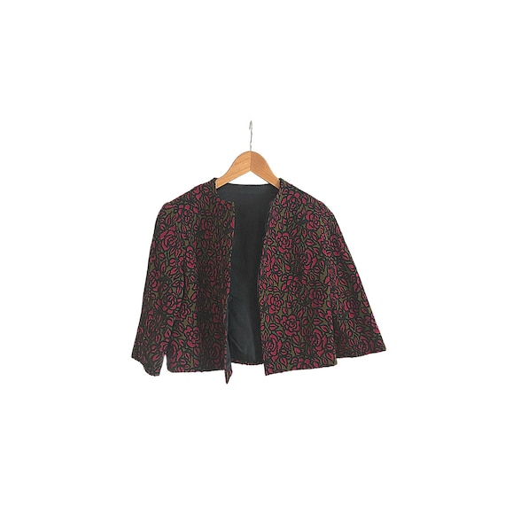 Vintage Bolero Jacket | Upholstery Fabric Coat | F
