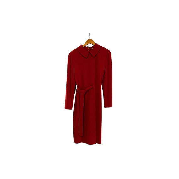 70s Solid Red Wool Bill Blass Dress | Bill Blass D