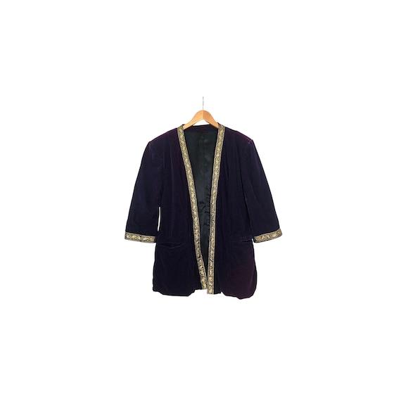 Vintage Purple Velvet Blazer | Gold Trim Blazer |