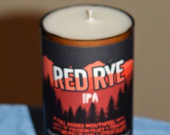 Upcycled, handmade, Soy Wax, Red Rye IPA Beer Bottle Candle. A unique, special gift