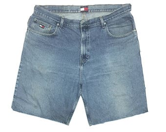 Vintage Tommy Hilfiger - style de la rue Shorts en Jean Hilfiger - années 90  - jorts - Jean - homme - baggy streetwear - - hip hop - Hilfiger 2486897de267