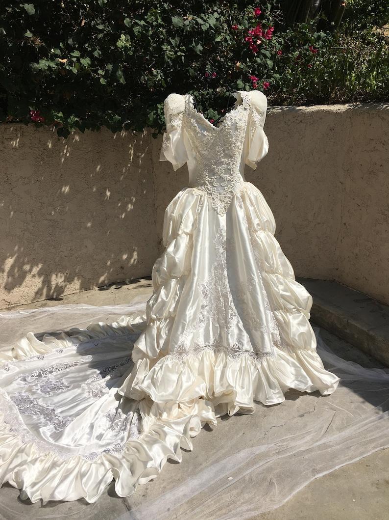 80s Wedding Dress.Vintage Wedding Dress 80 S Wedding Dress Size 2 To 4 Weddings Marriage Long Wedding Dress