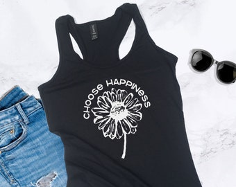95138c0069f459 Graphic Boho Tanks for Women - Choose Happiness with Flower - Trendy Cute  Graphic Tank Tops with Sayings - Graphic Shirt Woman