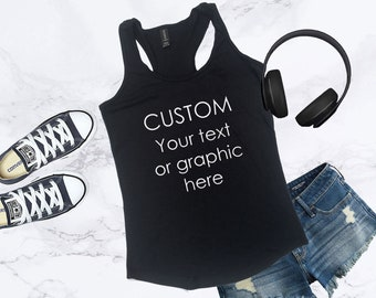 67fc667da1 Custom Tank Top for Women, Personalized Tank, Custom Workout Tanks, Ladies Personalized  Shirt, Design Your Own