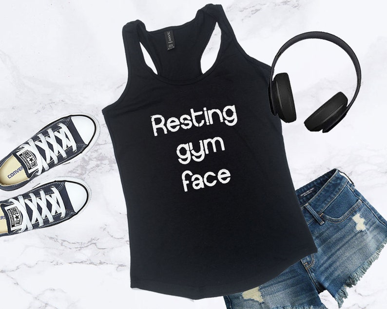 Womens Funny Resting Gym Face Workout Tank Top For The Gym