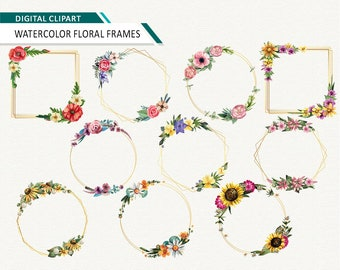 floral wreath watercolor floral frame wedding clipart bridal shower clipart