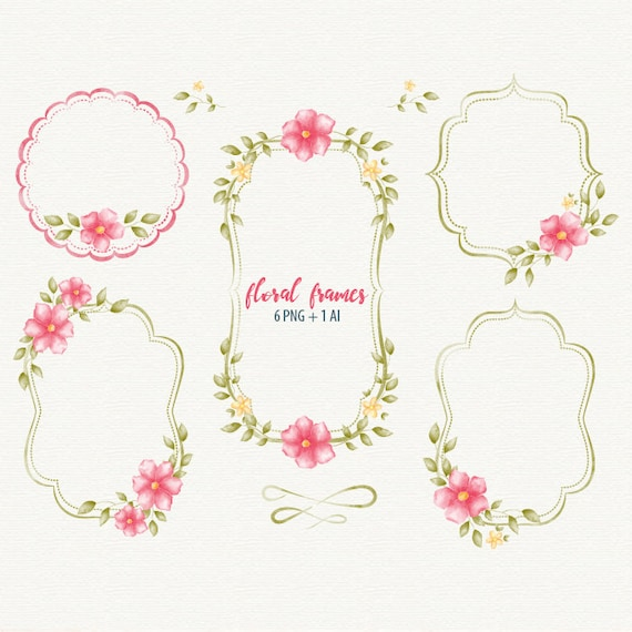 Wedding Frame Floral Watercolor Vector Shabby Chic Digital From DigiPPP On Etsy Studio