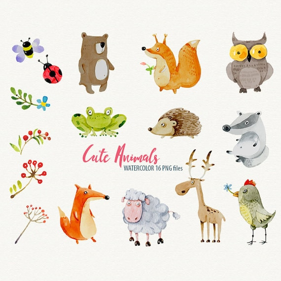 Watercolor Animals Clipart Sweet animals Watercolor ...