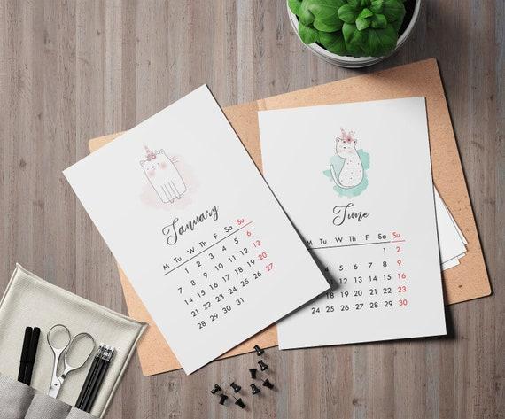 Calendario 2020 Settimanale Da Stampare.Calendario 2020 Calendario Mensile Unicorn 2019 Cats Planner Printable 2019 Instant Download