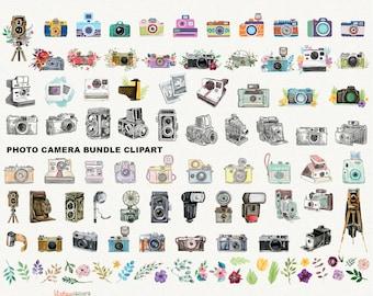 Watercolor camera clipart bundle - vintage photo camera clip art instant download commercial use ok