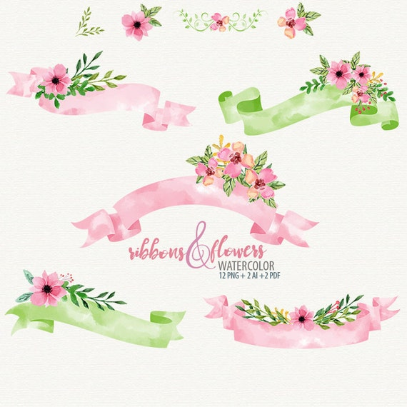 ribbon clipart watercolor banners watercolor ribbons ...