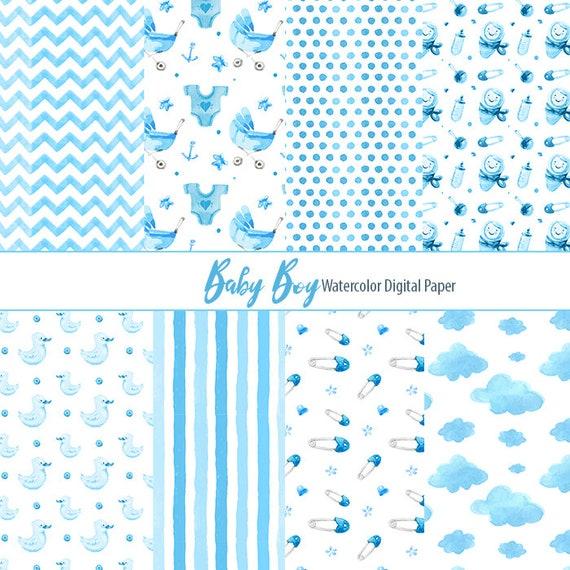 Boy Digital Paper Watercolor Baby Boy Patterns Little One Etsy Enchanting Boy Patterns