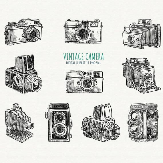 Hand draw camera clipart photo camera clipart vintage for Camere dwg