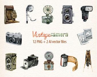 Watercolor camera clip art retro camera photocamera film vector clipart instant download commercial use OK