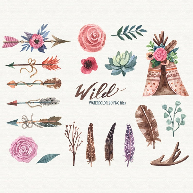 Wild ethnic clipart Watercolor Tribal clipart Watercolor Arrow Feather  clipart