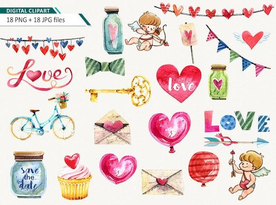 Love Clipart Valentine Clipart Cute Love Clip Art Valentine Etsy