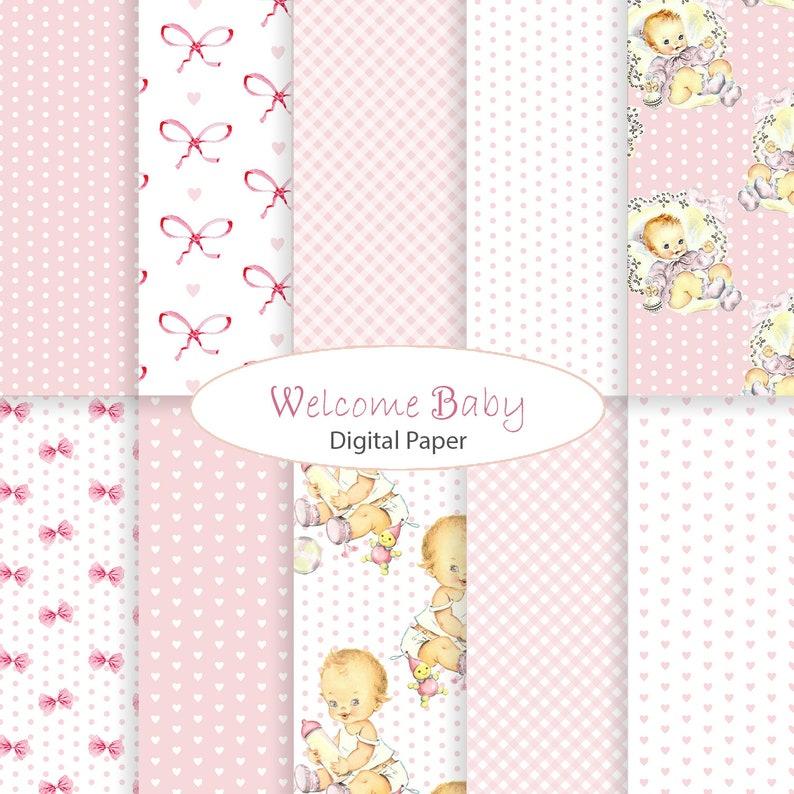Baby Girl Digital Paper Shabby Chic Patterns Little One Etsy