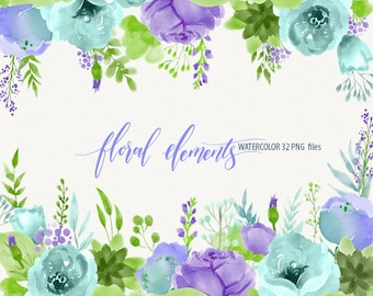 watercolor floral elements watercolor flowers clipart Black Friday