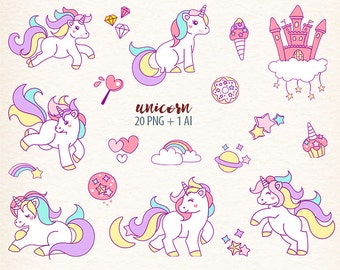 Unicorn clipart Fantasy digital clip art rainbow art digital image unicorn download