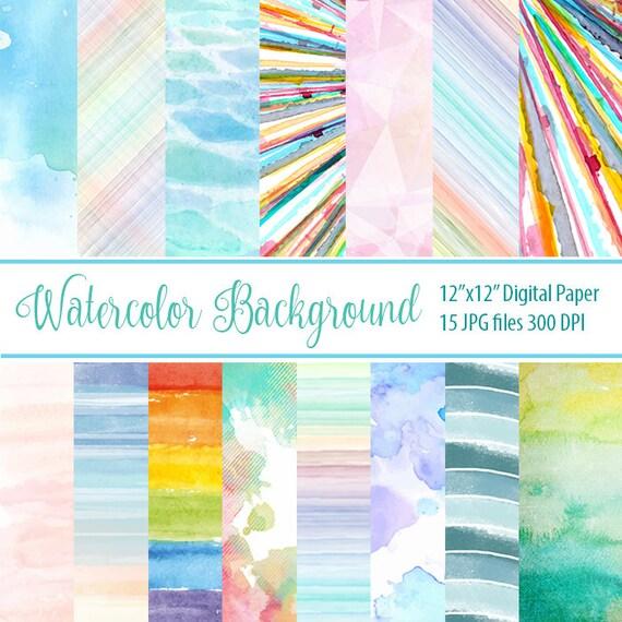 Watercolor Digital Paper Textured Digital Paper Watercolor Etsy